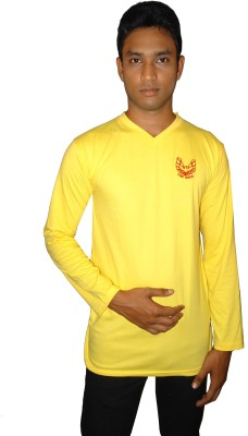 East West Embroidered Men's Round Neck Yellow T-Shirt