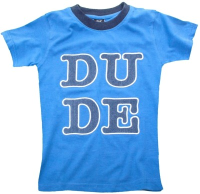 Huggs ,n, Kisses Solid Boy's Round Neck Blue T-Shirt