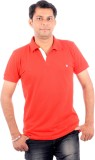 Wells Smith Solid Men's Polo Neck Red T-...