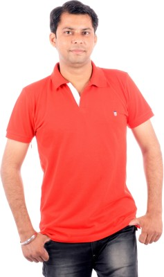 Wells Smith Solid Men,s Polo Red T-Shirt