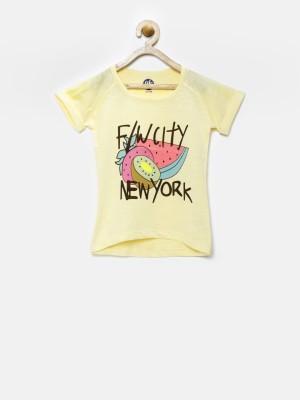 YK Printed Girl's Round Neck Yellow T-Shirt