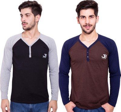 Jangoboy Solid Men,s V-neck Black, Brown T-Shirt
