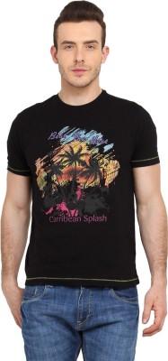 Tecza Printed Men,s Round Neck Black T-Shirt