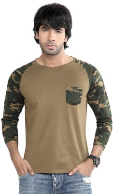 Difference Of Opinion Printed Men's V-neck Green T-Shirt