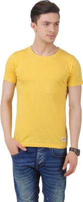 Frost Solid Men's Round Neck Yellow T-Shirt
