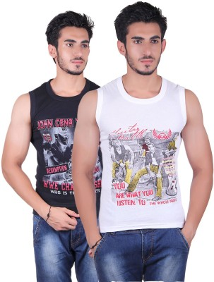 White Moon Printed Men's Round Neck Black, White T-Shirt