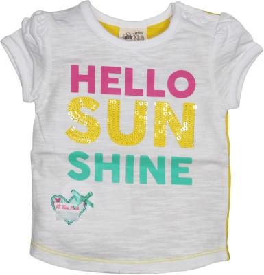 FS Mini Klub Solid Baby Girl's Round Neck White T-Shirt