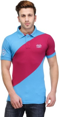 Canary London Solid Men's Polo Blue, Pink T-Shirt