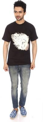 Attitude21 Self Design Men's Round Neck Black T-Shirt