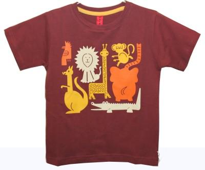 Hussky Printed Boy's Round Neck Maroon T-Shirt