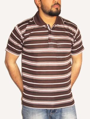 GouGas Striped Men's Round Neck Brown T-Shirt