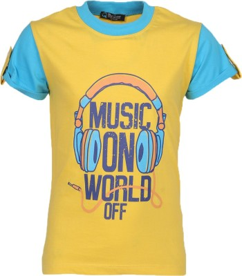 Cool Quotient Printed Boy's Round Neck Yellow T-Shirt