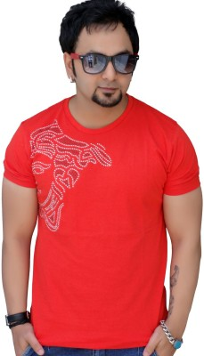 Black Collection Graphic Print Men's Round Neck Red T-Shirt