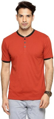 Being Crazy Solid Men,s Henley Orange T-Shirt