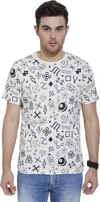 Slub By INMARK Geometric Print Men's Round Neck Beige T-Shirt