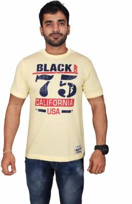 Black Chip Printed Men's Round Neck Yellow T-Shirt