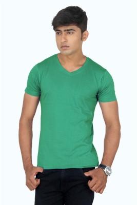 TeesTadka Solid Men's V-neck Green T-Shirt