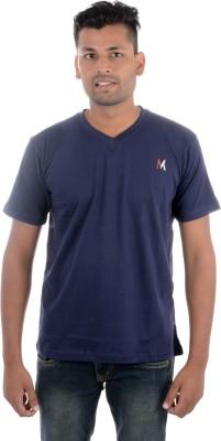 Moladz Solid Men's V-neck Dark Blue T-Shirt