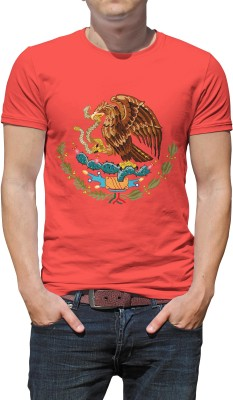 Haunting Dragons Printed Men's Round Neck Red T-Shirt