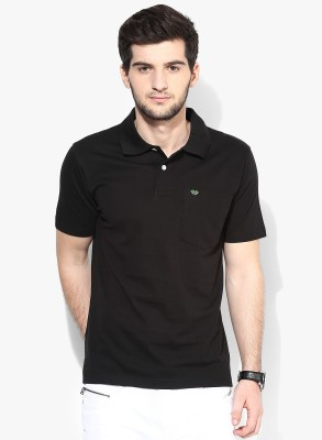 UV&W Solid Men's Polo Neck Black T-Shirt