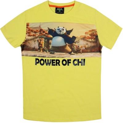 KUNG FU PANDA Printed Boy's Round Neck Yellow T-Shirt