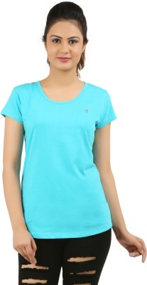 New Darling Solid Women's Round Neck Light Blue T-Shirt