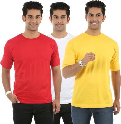 Fidato Solid Men's Round Neck Red, White, Yellow T-Shirt
