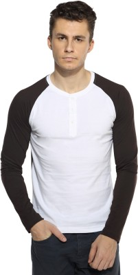 Pepperclub Solid Men's Henley Brown, White T-Shirt