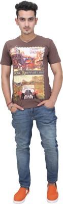 AFLASH Printed Men's V-neck Beige T-Shirt