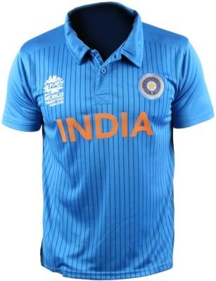 ICC WT20 Striped Men's Polo T-Shirt