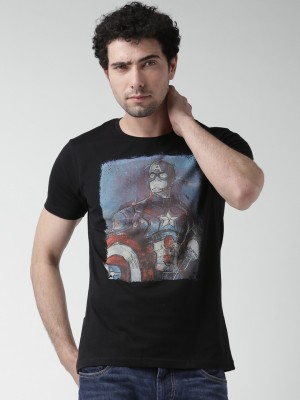 Moda Rapido Printed Men,s Round Neck Blue T-Shirt