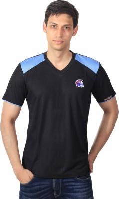 INDI RITUALS Solid Men's V-neck Black, Blue T-Shirt
