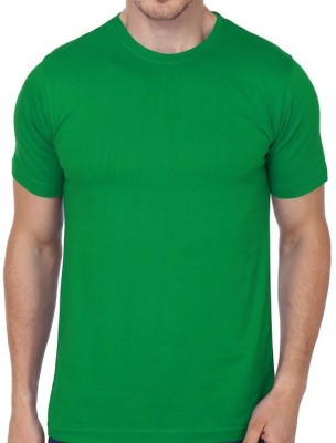 neuf Solid Men's Round Neck Green T-Shirt