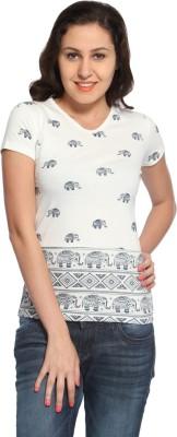 Maatra Printed Women,s V-neck White T-Shirt