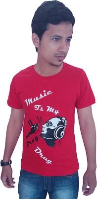 Wankies Printed Men's Round Neck Red T-Shirt