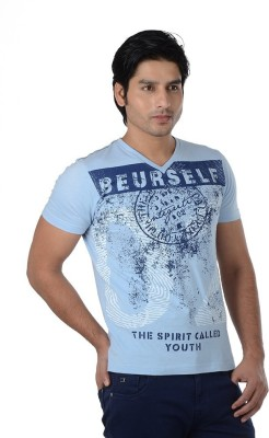 Integriti Printed Men's V-neck Light Blue T-Shirt