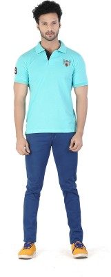 Kkoir Embroidered, Solid Men's Polo Light Blue T-Shirt