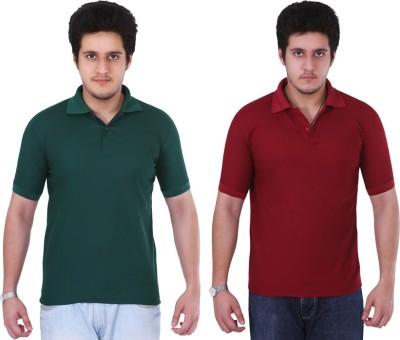NGT Solid Men's Polo Neck Dark Green, Maroon T-Shirt