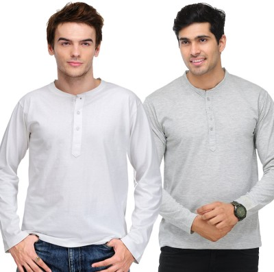 TSX Solid Mens Henley White, Grey T-Shirt