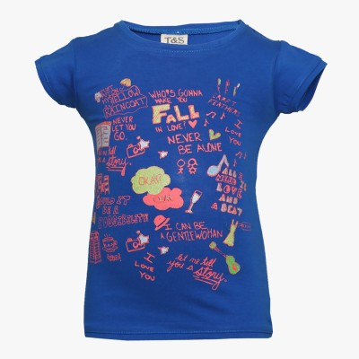Tales & Stories Printed Girl's Round Neck Blue T-Shirt