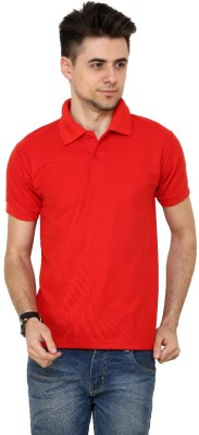 Grand Bear Solid Men's Polo Neck Red T-Shirt