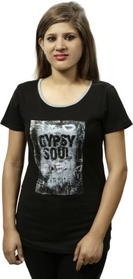 Gypsy Soul Graphic Print Women's Round Neck Black T-Shirt
