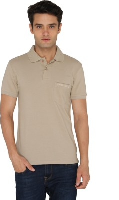 Chromozome Solid Men's Polo Neck Beige T-Shirt