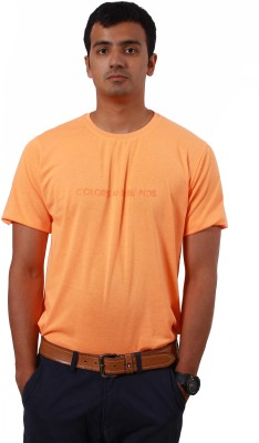 Colors and Blends Printed Men,s Round Neck Orange T-Shirt