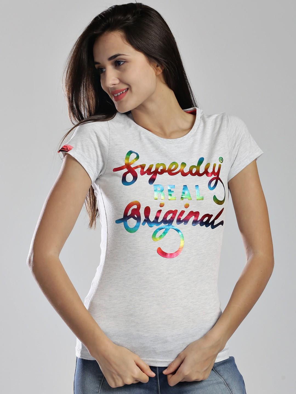Superdry Printed Womens Round Neck White T-Shirt