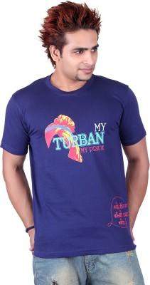 Punjabi Heritage Printed Men,s Round Neck Blue T-Shirt