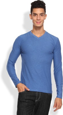 Arise Solid Men's V-neck Light Blue T-Shirt