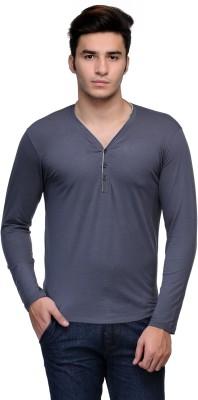 Flippd Solid Men's Henley Grey T-Shirt