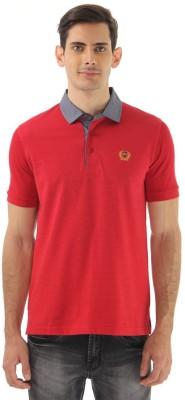 Monte Carlo Striped Men's Polo Neck Red T-Shirt