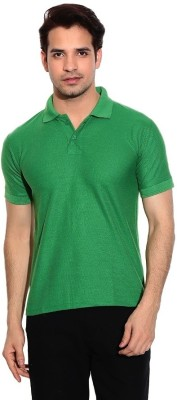 Davie Jones Solid Men,s Polo Neck Green T-Shirt